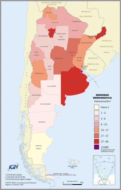 Mappa Argentina demografico