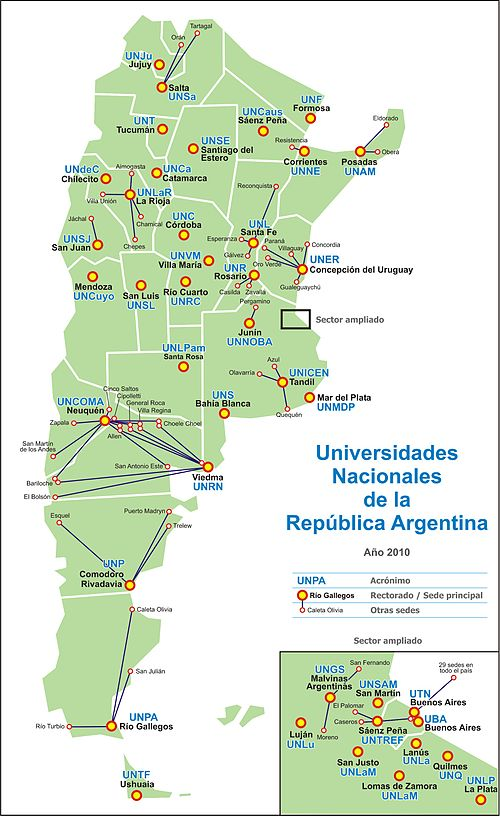 mapa università in argentina